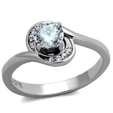 TK2116 High polished (no plating) Stainless Steel Ring with AAA Grade CZ in Clear