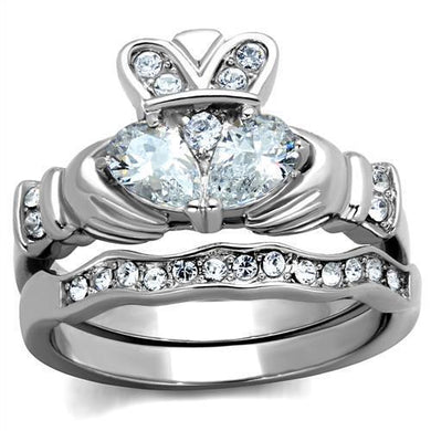 TK2119 - High polished (no plating) Stainless Steel Ring with AAA Grade CZ  in Clear