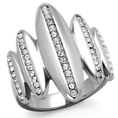 TK2156 - High polished (no plating) Stainless Steel Ring with Top Grade Crystal  in Clear