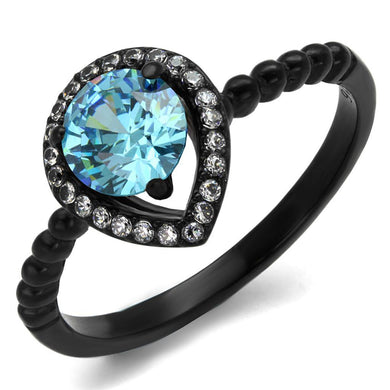 TK2364 - IP Black(Ion Plating) Stainless Steel Ring with AAA Grade CZ  in Sea Blue