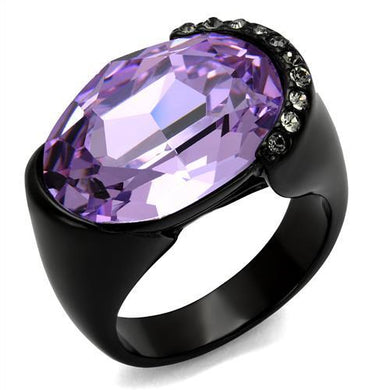 TK2485 - IP Black(Ion Plating) Stainless Steel Ring with Top Grade Crystal  in Violet