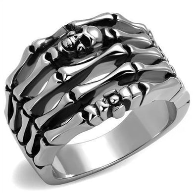 TK2512 - High polished (no plating) Stainless Steel Ring with Epoxy  in Jet