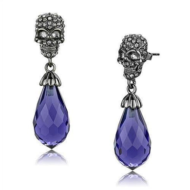 TK2574 - IP Light Black  (IP Gun) Stainless Steel Earrings with Synthetic Synthetic Glass in Tanzanite