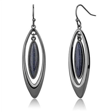 TK2577 - IP Light Black  (IP Gun) Stainless Steel Earrings with Blue Sand  in Montana