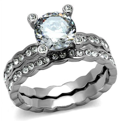 TK2659 - High polished (no plating) Stainless Steel Ring with AAA Grade CZ  in Clear