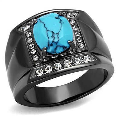 TK2662 - IP Light Black  (IP Gun) Stainless Steel Ring with Synthetic Turquoise in Sea Blue