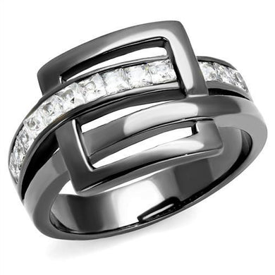 TK2690 IP Light Black  (IP Gun) Stainless Steel Ring with AAA Grade CZ in Clear