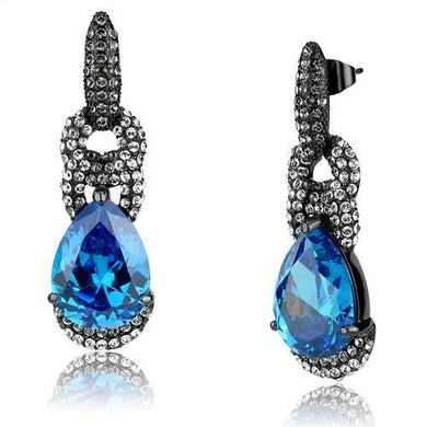 TK2708 - IP Light Black  (IP Gun) Stainless Steel Earrings with AAA Grade CZ  in Sea Blue