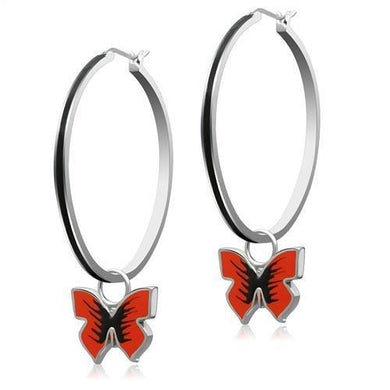 TK270 - High polished (no plating) Stainless Steel Earrings with No Stone