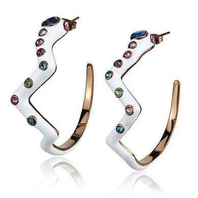 TK2729 - IP Coffee light Stainless Steel Earrings with Top Grade Crystal  in Multi Color