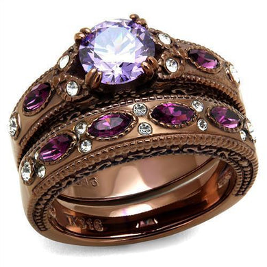 TK2746 - IP Coffee light Stainless Steel Ring with AAA Grade CZ  in Amethyst