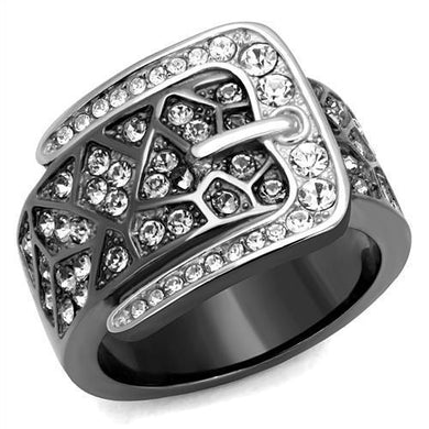 TK2769 Two-Tone IP Black Stainless Steel Ring with Top Grade Crystal in Black Diamond