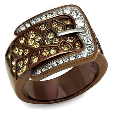 TK2770 Two Tone IP Light Brown (IP Light coffee) Stainless Steel Ring with Top Grade Crystal in Citrine Yellow