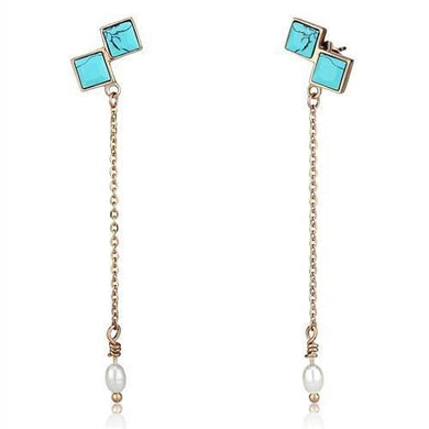 TK2814 - IP Rose Gold(Ion Plating) Stainless Steel Earrings with Synthetic Turquoise in Sea Blue