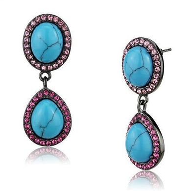 TK2847 - IP Light Black  (IP Gun) Stainless Steel Earrings with Synthetic Turquoise in Sea Blue