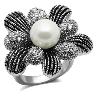 TK2877 - High polished (no plating) Stainless Steel Ring with Synthetic Pearl in White