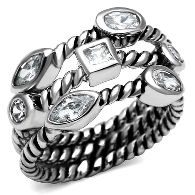 TK2880 - High polished (no plating) Stainless Steel Ring with AAA Grade CZ  in Clear