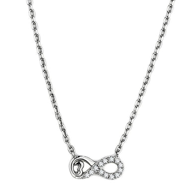 TK2885 - High polished (no plating) Stainless Steel Necklace with AAA Grade CZ  in Clear