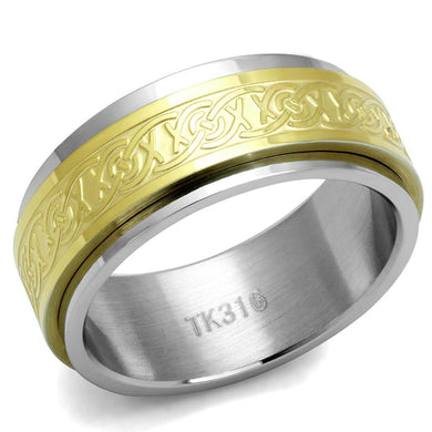 TK2939 Two-Tone IP Gold (Ion Plating) Stainless Steel Ring with No Stone in No Stone