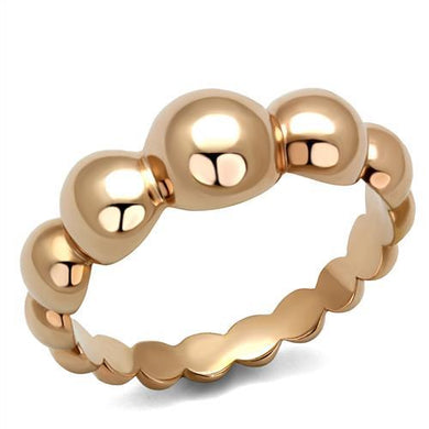 TK2967 - IP Rose Gold(Ion Plating) Stainless Steel Ring with No Stone