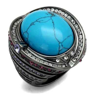 TK2983 - IP Light Black  (IP Gun) Stainless Steel Ring with Synthetic Turquoise in Sea Blue