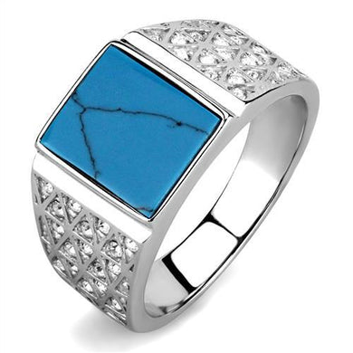TK3004 - High polished (no plating) Stainless Steel Ring with Synthetic Turquoise in Sea Blue