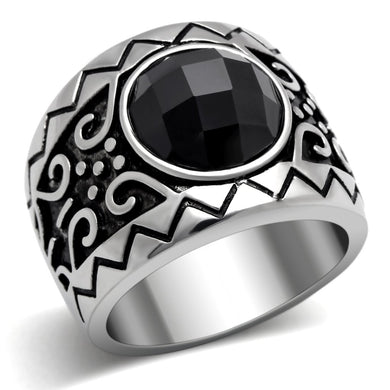 TK303 High polished (no plating) Stainless Steel Ring with AAA Grade CZ in Jet