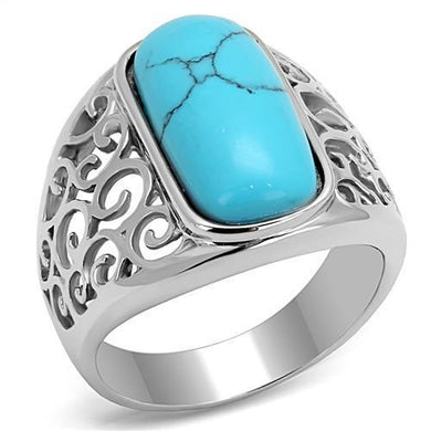 TK3043 - High polished (no plating) Stainless Steel Ring with Synthetic Turquoise in Sea Blue