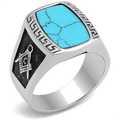 TK3044 - High polished (no plating) Stainless Steel Ring with Synthetic Turquoise in Sea Blue