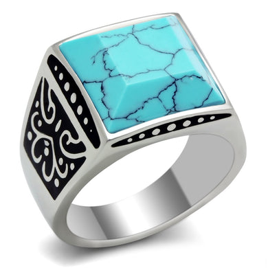 TK304 High polished (no plating) Stainless Steel Ring with Synthetic in Sea Blue
