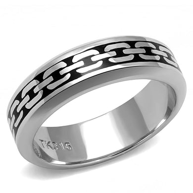 TK3061 - High polished (no plating) Stainless Steel Ring with Epoxy  in Jet