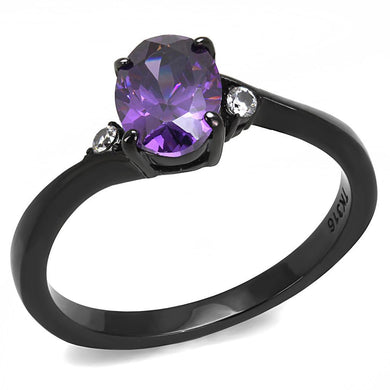 TK3063 - IP Black(Ion Plating) Stainless Steel Ring with AAA Grade CZ  in Amethyst