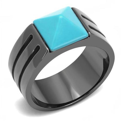 TK3074 - IP Light Black  (IP Gun) Stainless Steel Ring with Synthetic Turquoise in Sea Blue