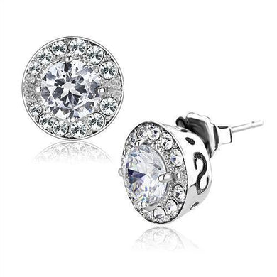 TK3103 - High polished (no plating) Stainless Steel Earrings with AAA Grade CZ  in Clear