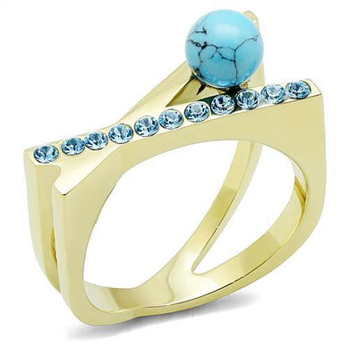 TK3130 - IP Gold(Ion Plating) Stainless Steel Ring with Synthetic Turquoise in Turquoise