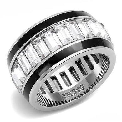 TK3173 - High polished (no plating) Stainless Steel Ring with Top Grade Crystal  in Clear