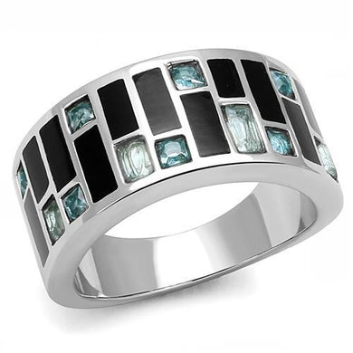 TK3175 - High polished (no plating) Stainless Steel Ring with Synthetic Synthetic Glass in Sea Blue