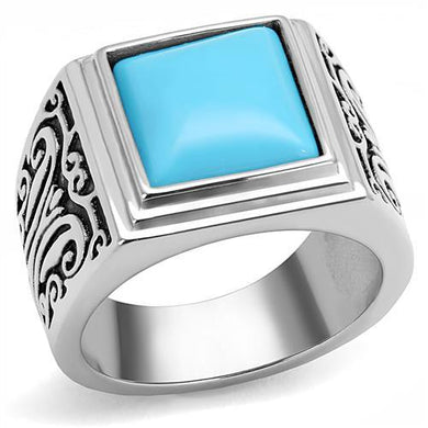 TK3188 - High polished (no plating) Stainless Steel Ring with Synthetic Turquoise in Sea Blue