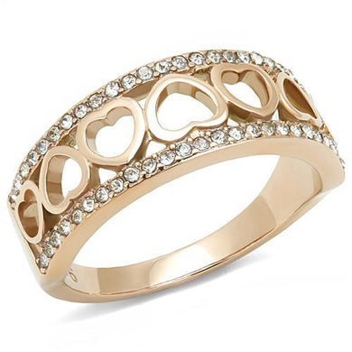 TK3194 IP Rose Gold(Ion Plating) Stainless Steel Ring with Top Grade Crystal in Clear