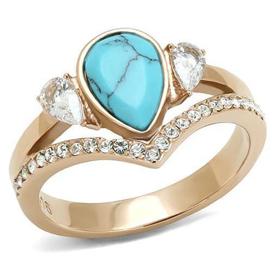 TK3200 - IP Rose Gold(Ion Plating) Stainless Steel Ring with Synthetic Turquoise in Sea Blue