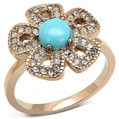 TK3201 - IP Rose Gold(Ion Plating) Stainless Steel Ring with Synthetic Turquoise in Sea Blue