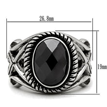 Load image into Gallery viewer, TK322 High polished (no plating) Stainless Steel Ring with AAA Grade CZ in Black Diamond
