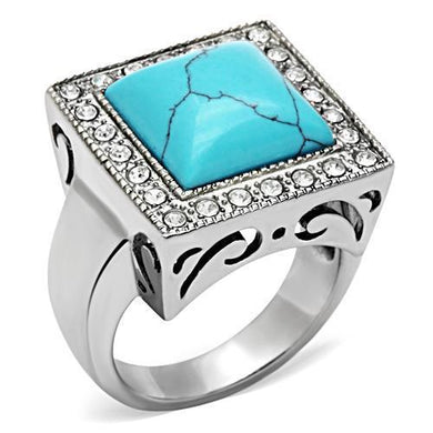 TK323 - High polished (no plating) Stainless Steel Ring with Synthetic Turquoise in Sea Blue