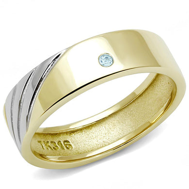 TK3267 Two-Tone IP Gold (Ion Plating) Stainless Steel Ring with Top Grade Crystal in Sea Blue