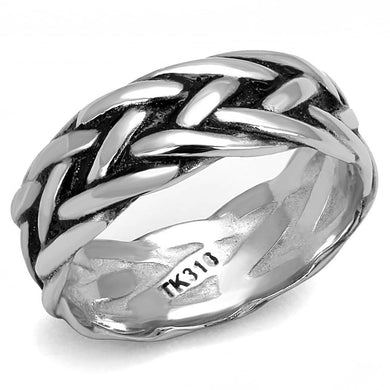 TK3280 High polished (no plating) Stainless Steel Ring with Epoxy in Jet