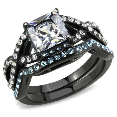 TK3457 - IP Black(Ion Plating) Stainless Steel Ring with AAA Grade CZ  in Clear