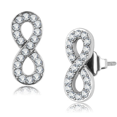 TK3475 - High polished (no plating) Stainless Steel Earrings with AAA Grade CZ  in Clear
