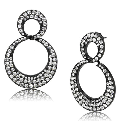 TK3493 - IP Black(Ion Plating) Stainless Steel Earrings with Top Grade Crystal  in Clear
