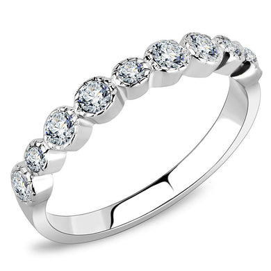 TK3497 - High polished (no plating) Stainless Steel Ring with Top Grade Crystal  in Clear