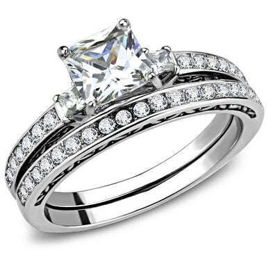 TK3510 - High polished (no plating) Stainless Steel Ring with AAA Grade CZ  in Clear
